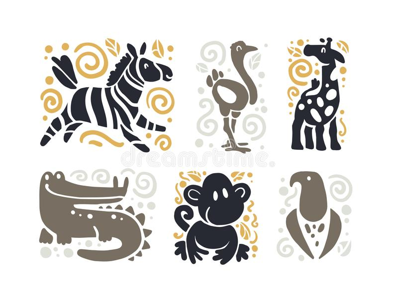 Vector flat cute funny hand drawn animal silhouette isolated on white background - zebra, ostrich, giraffe, crocodile, monkey and royalty free illustration