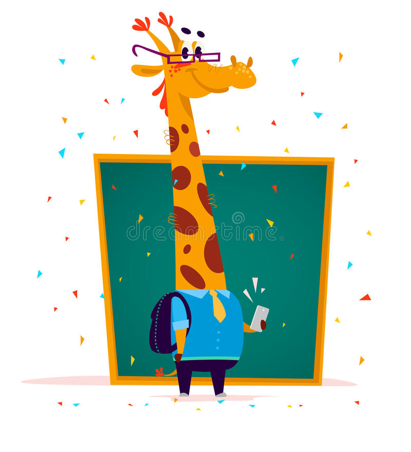 Vector flat cute giraffe student character standing at chalkboard on white background. School boy with bag and mobile smartphone. Good for card, poster royalty free illustration