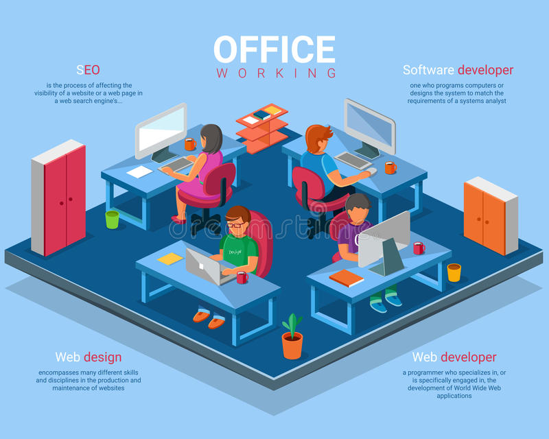 Vector flat 3d isometric business office concept illustration. Office interior and creative people web and software developers at work vector illustration