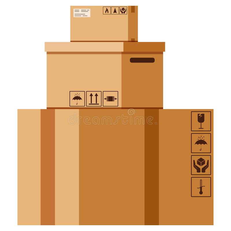 Vector flat design cartoon style illustration cardboard boxes stack with packaging sings isolated on white background royalty free illustration