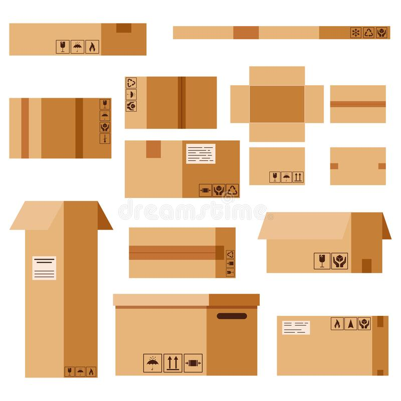 Vector flat design cartoon style illustration cardboard parcels set with packaging sings isolated on white background. Closed and open delivery post office vector illustration