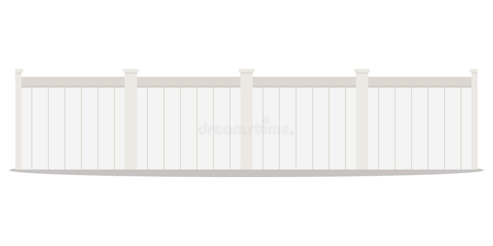 Vector flat design cartoon style illustration of a long row of white wood street picket fences royalty free illustration