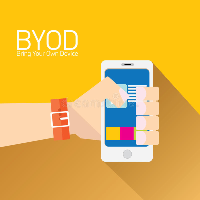 Vector flat design concept of BYOD. Bring you own device. hand holding device. flat style vector illustration vector illustration
