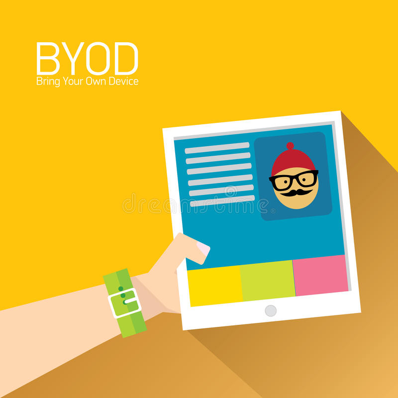 Vector flat design concept of BYOD. Bring you own device. hand holding device. flat style vector illustration royalty free illustration