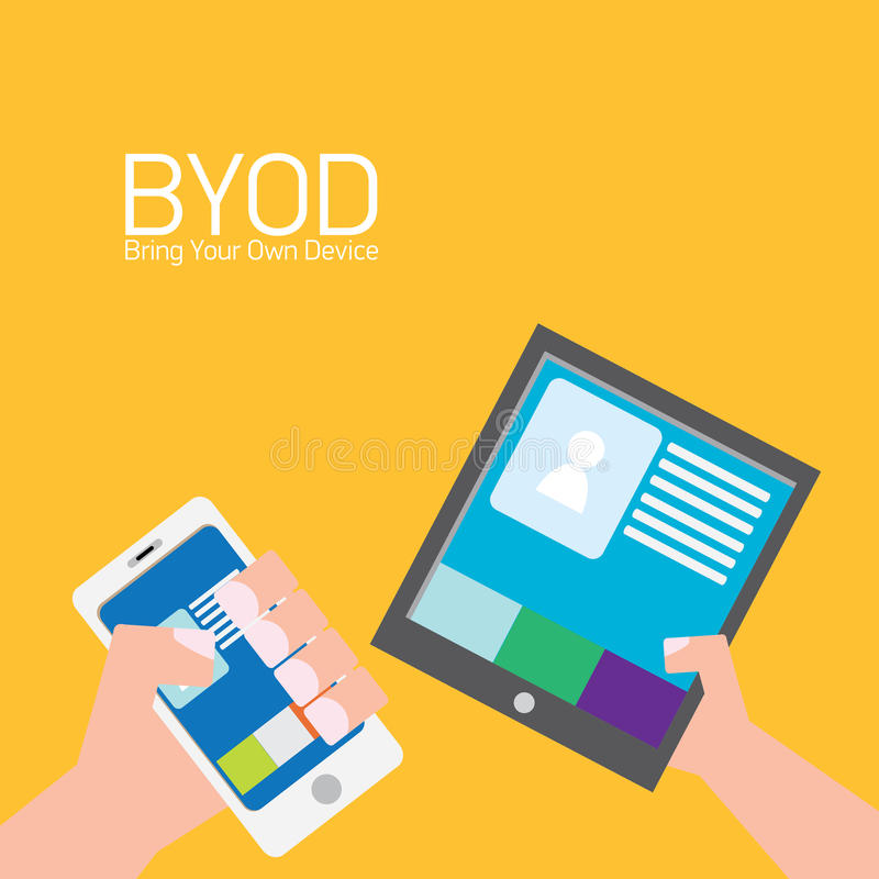 Vector flat design concept of BYOD. Bring you own device. hand holding device. flat style vector illustration stock illustration