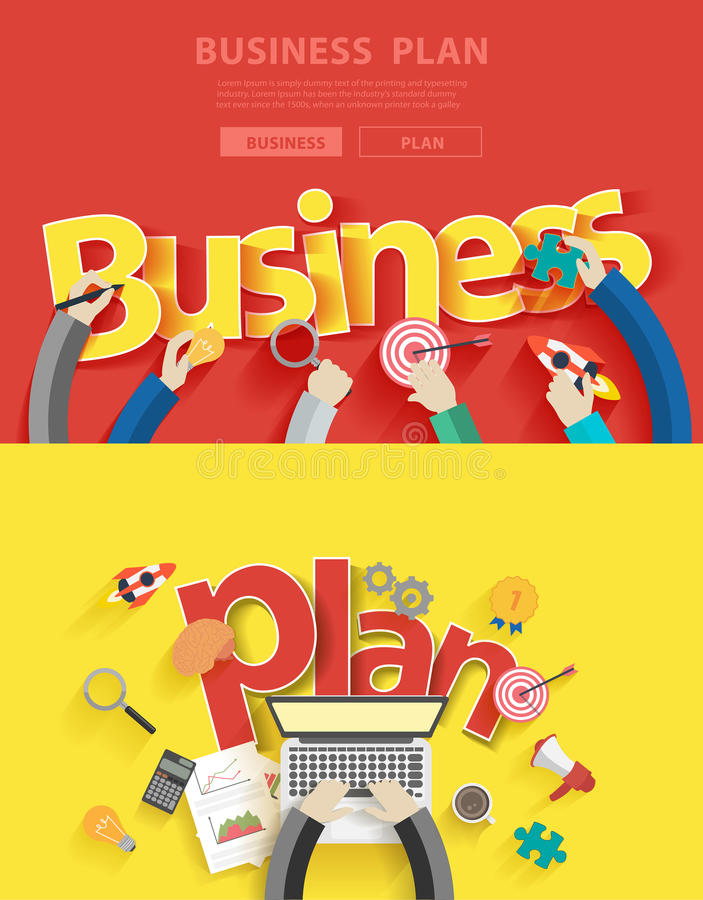 Vector flat design concepts for business plan stock illustration