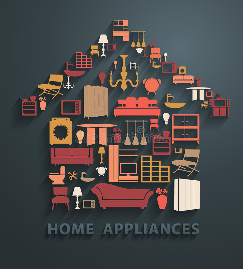 Vector flat design concepts home appliances icons vector illustration