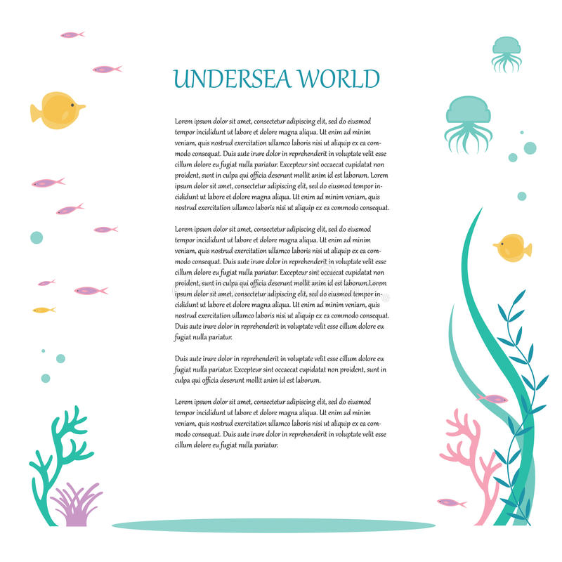Vector flat design of elements the underwater world. Illustration of deep tropical flora and fauna. Place for text.  stock illustration