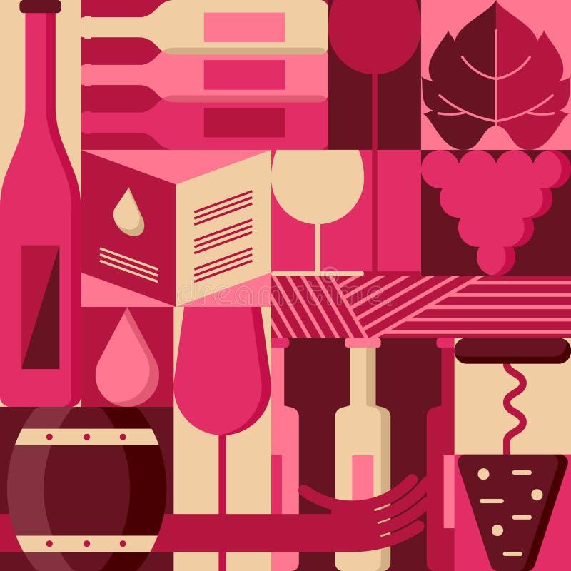 Vector flat design elements for wine list, label, packaging, bar menu. Background with wine bottles, glass, grape vine. royalty free illustration