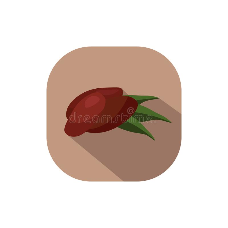 Flat design Dates. Vector. Flat design. Icon of dates with leaves royalty free illustration