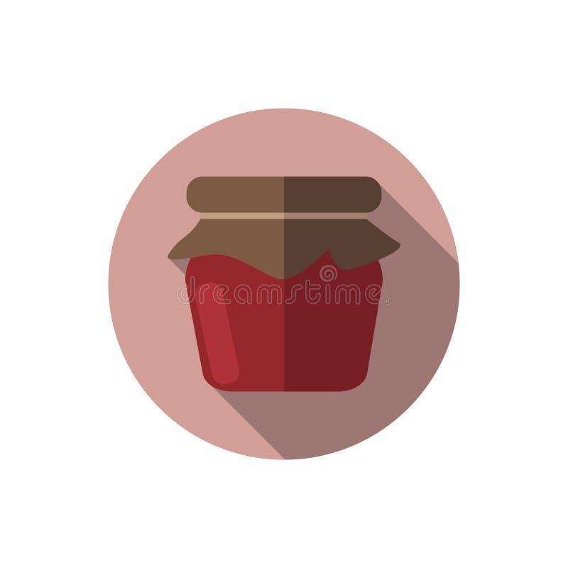 Flat design Strawberry Jam. Vector. Flat design. Icon of strawberry jam in jar vector illustration
