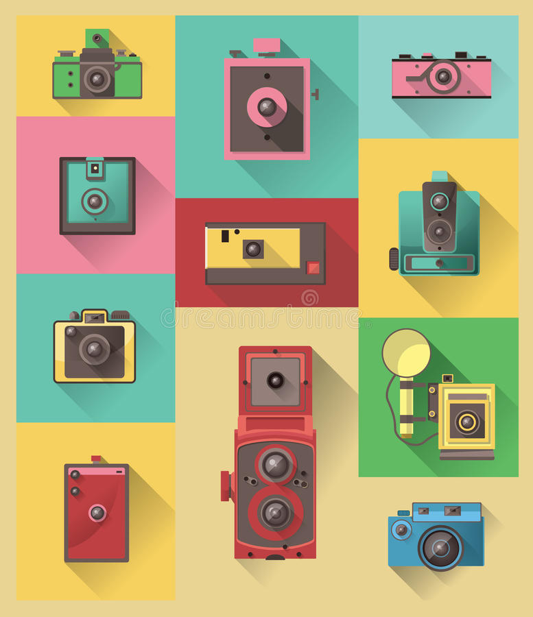 Vector flat design icon of vintage camera royalty free illustration