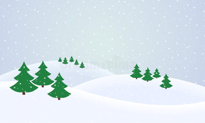 Vector flat design illustration of a snowy winter landscape with royalty free illustration