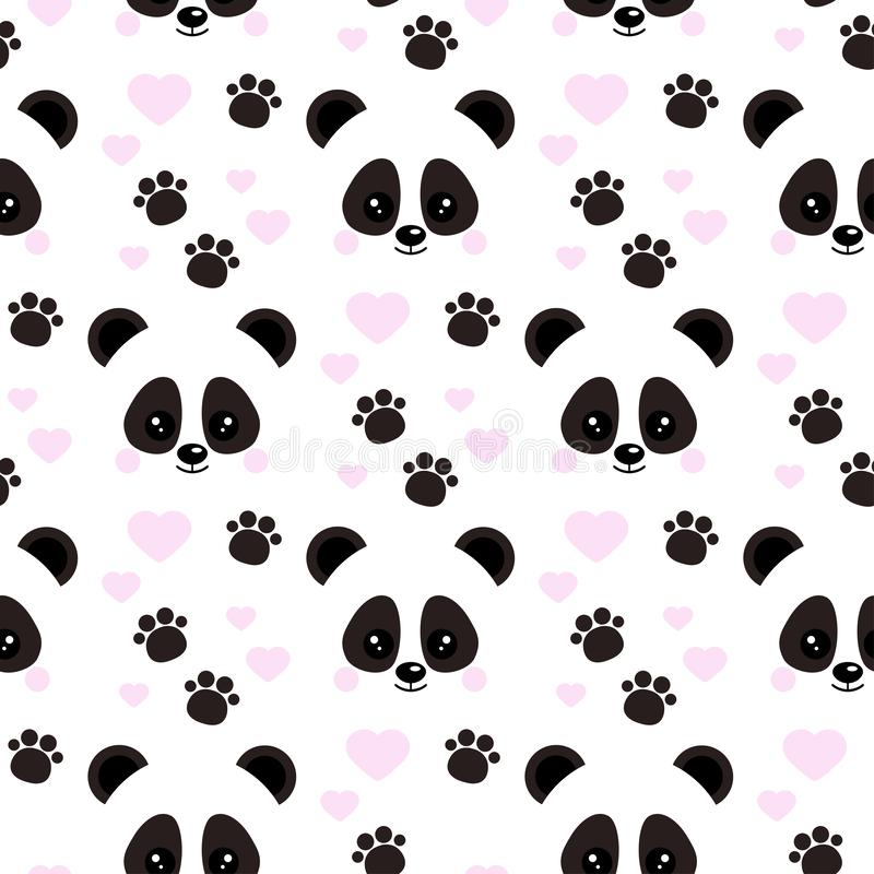 Vector flat design seamless pattern with cute baby panda face with pink hearts footprints ornament on white background vector illustration