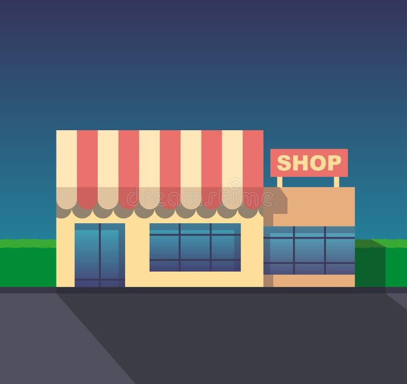 Vector flat design shop facade icon. Stylized illustration stock illustration