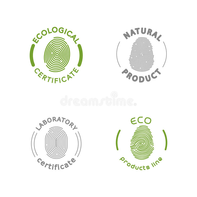 Vector flat eco product emblem. Ecological cosmetic sign. Eco badge. Finger stamp. Natural product line. Nature certificate quality. Eco symbol. Natural royalty free illustration
