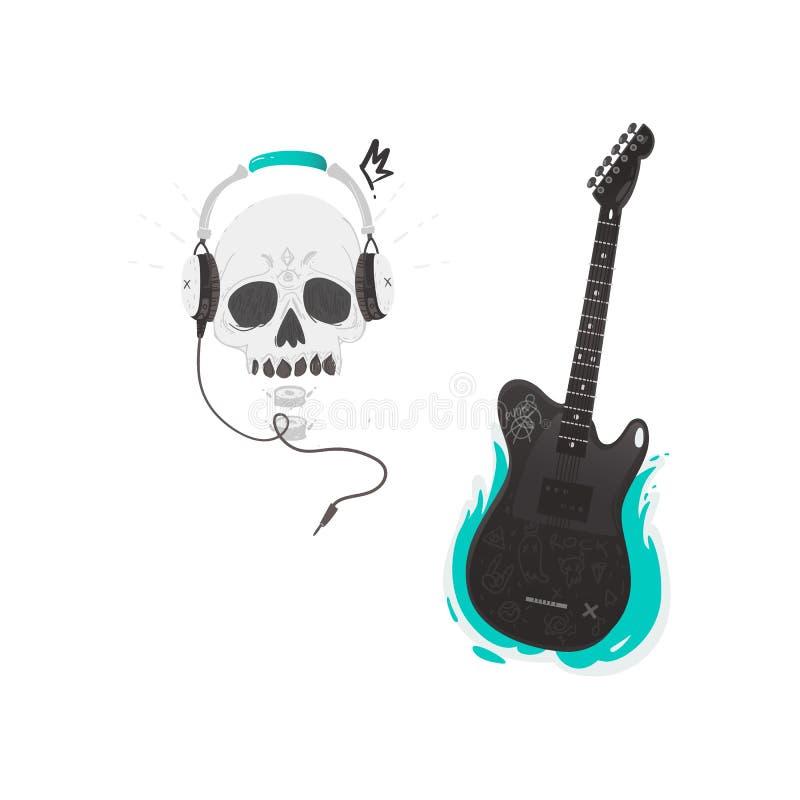 Vector flat black electric guitar skull headphones vector illustration