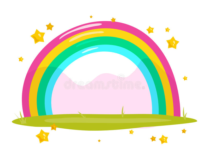 Vector flat fairy background with colorful rainbow vector illustration