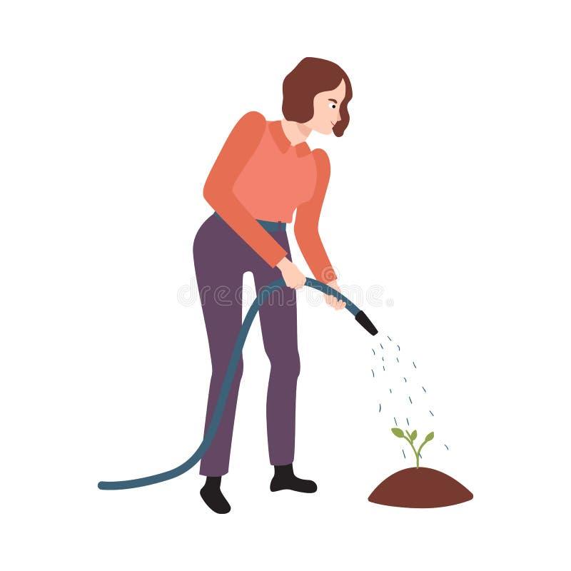 Vector flat farmer woman in professional uniform stock illustration