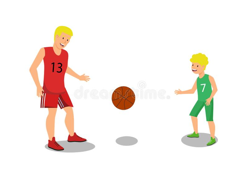 Vector Flat Father Playing with Guys Basketball. Vector Flat Father Playing with Guys Fenced Large New Basketball Court. In Park Against Backdrop Modern City royalty free illustration