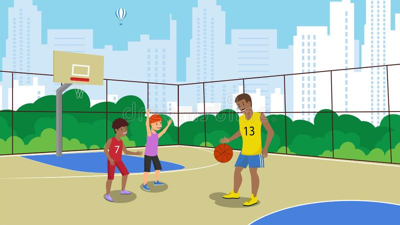 Vector Flat Father Playing with Guys Fenced Large. Vector Flat Father Playing With Guys Fenced Large New Basketball Court. In Park Against Backdrop Modern City stock illustration