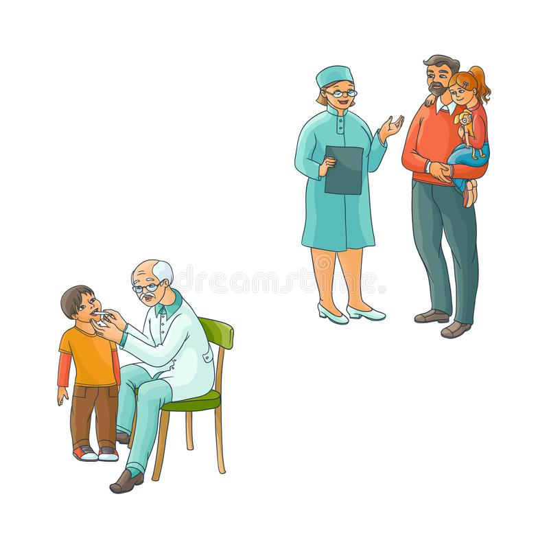 Vector flat female doctor teen kids scene set. Vector flat pediatricians and teen kids scenes set. Female doctor with clipboard talking to father holding teen stock illustration