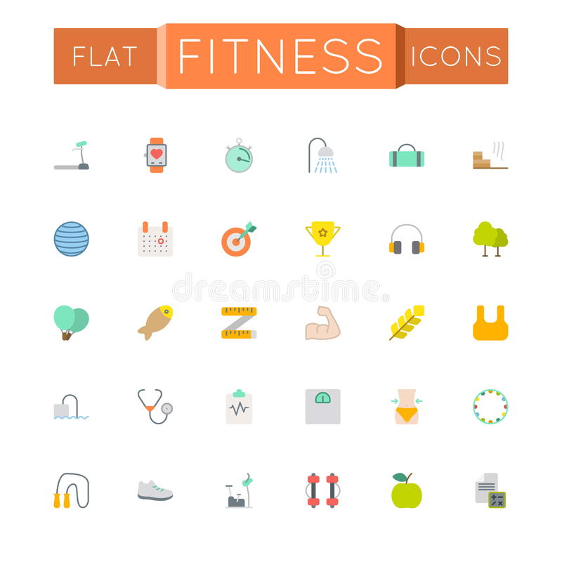 Vector Flat Fitness Icons stock illustration