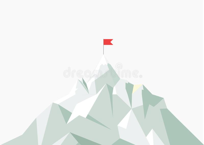 Vector flat flag on mountain. Low poly design. Success illustration. Goal achievement. Business concept. Winning of. Competition or triumph royalty free illustration