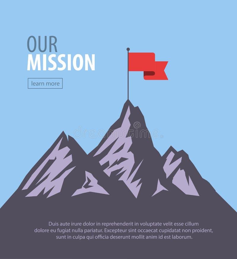 Vector flat flag on mountain. Success illustration. Goal achievement. Business concept. Our mission page template. Success illustration.Business concept. Flag on vector illustration