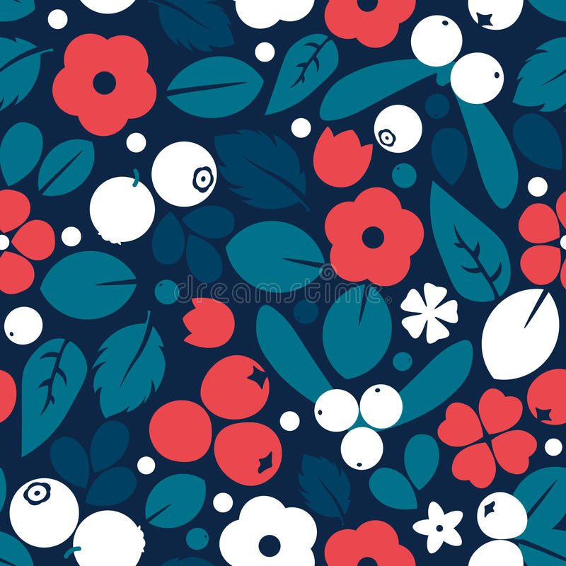 Vector flat flowers and berries background, creative color pattern. royalty free illustration