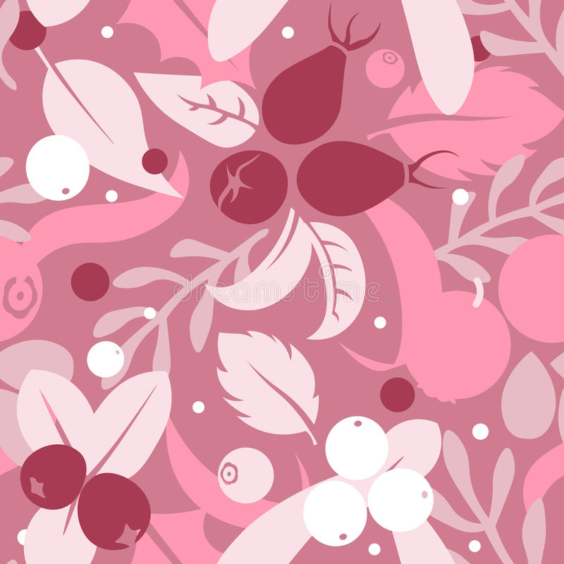 Vector flat flowers and berries, seamless creative pattern. Vector flat flowers, leaves and berries icons silhouette seamless pattern. Cute bright color design royalty free illustration