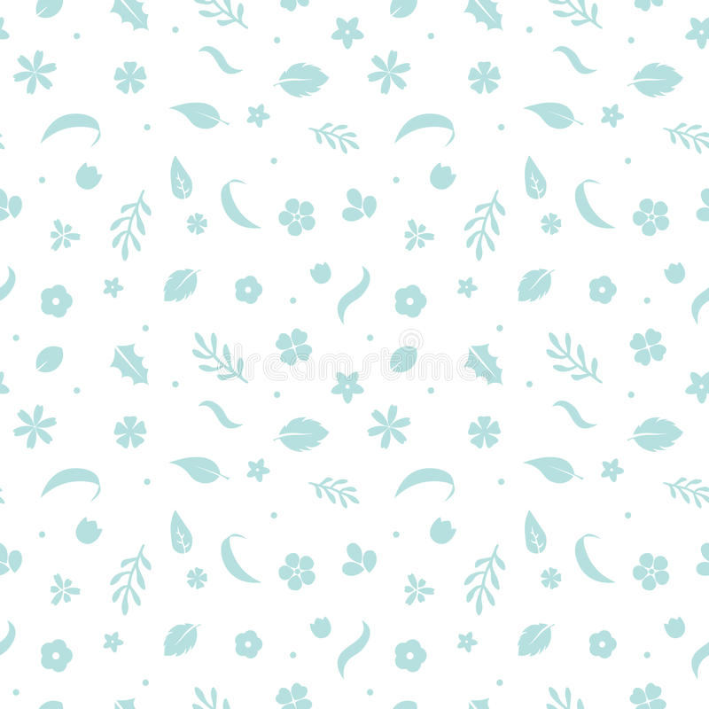 Vector flat flowers, seamless floral pattern. stock illustration