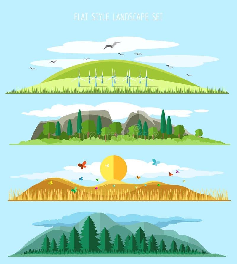 Landscape Illustration Vector Free: Vector Flat Forest Landscape Stock Vector