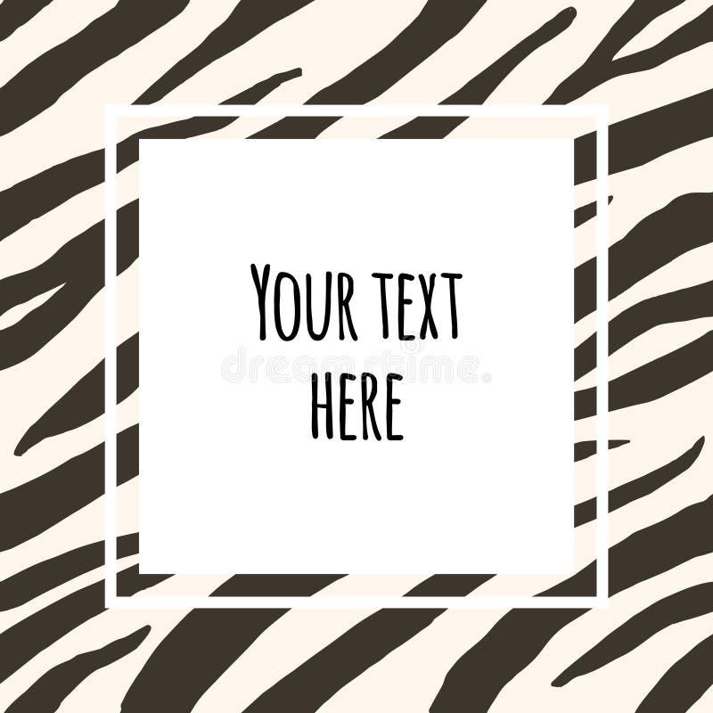 Vector frame with text banner on zebra print stock illustration
