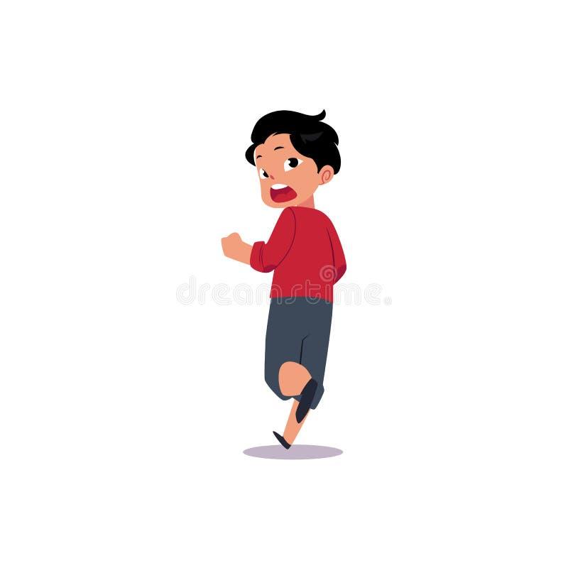 Vector Flat Frightened Teenage Boy Running Away. Stock ...