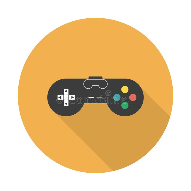 Vector flat gaming joystick icon. Flat vector icon gaming joystick with long shadow. For web and mobile applications royalty free illustration