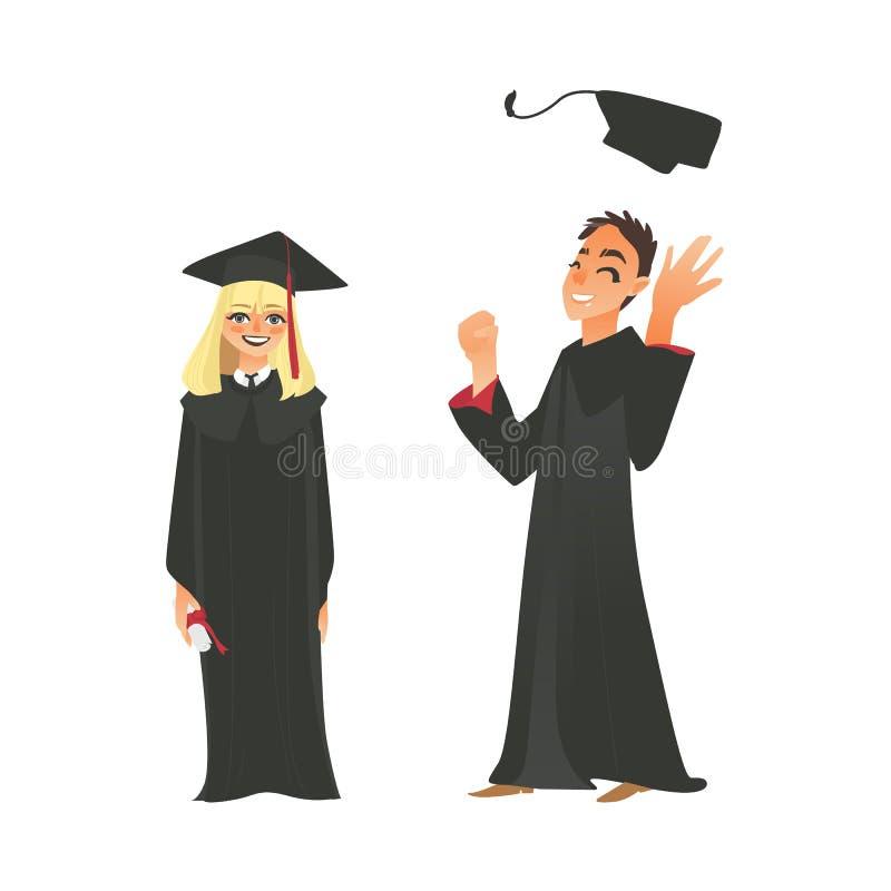 Vector Flat Girl, Boy Graduate In Gown, Cap Stock Vector ...