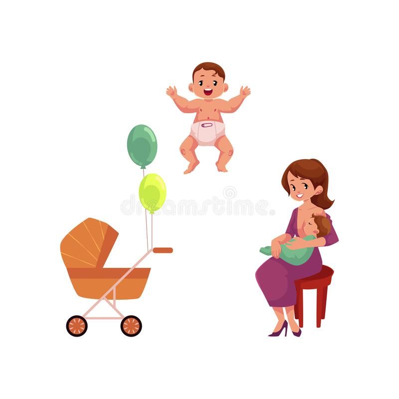 Vector flat girl with infant, toddler baby pram. Vector flat cartoon adult cute woman girl in dress sitting at chair with infant toddler on her knees, baby vector illustration
