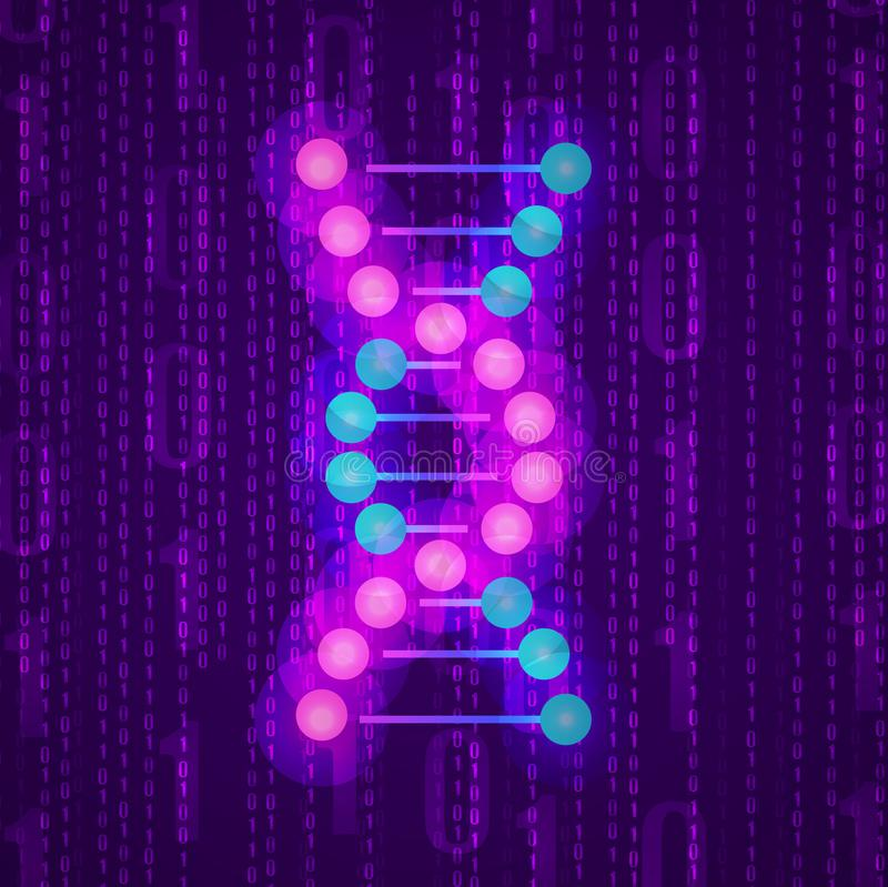 VECTOR flat glittering structure of DNA on binary code. vector illustration