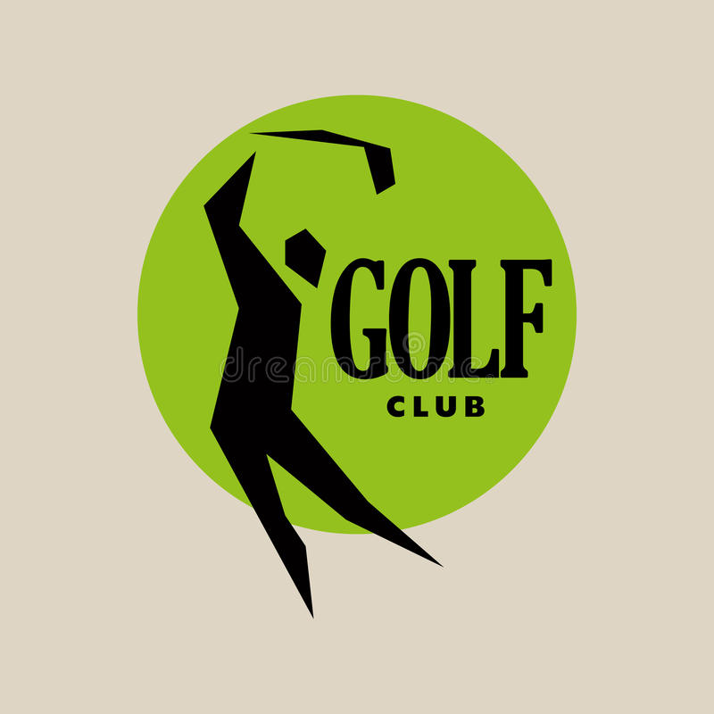 Vector flat golf logo design. Golf player icon, sport logo, golf club insignia, print desig, any advertising sample royalty free illustration