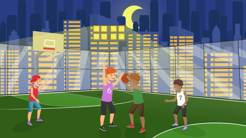 Vector Flat Guys Playing on Basketball Fenced. Vector Flat Guys Playing on Basketball Court in Fenced. Kid Throws Ball Into Ring Team Plays Against Rivals stock illustration