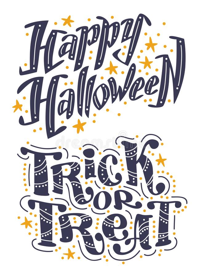 Download Vector Flat Halloween Lettering Quote Design Set With Doodle Elements Isolated On White Background. Stock Vector - Illustration of calligraphy, isolated: 102037790