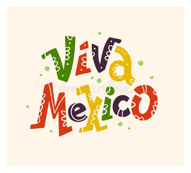 Vector flat hand drawn illustration with flat Viva Mexico lettering isolated on white background. Mexican poster, placard, print, banner element design stock illustration