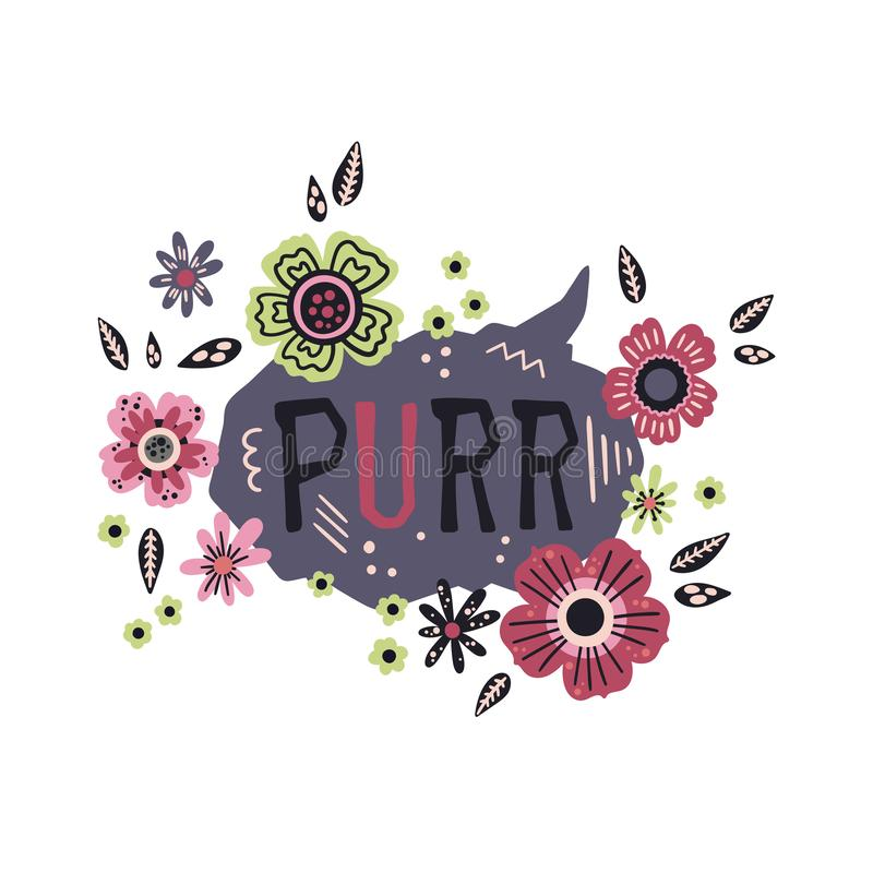 Vector flat hand drawn lettering: Purr - surrounded by plants and flowers. royalty free illustration