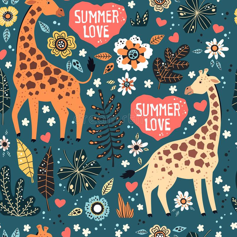 Vector flat hand drawn. Pattern. Giraffes with tropical plants and flowers royalty free illustration