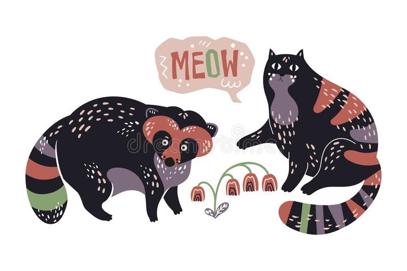 Vector flat hand drawn raccoon and cat with by flowers. stock illustration