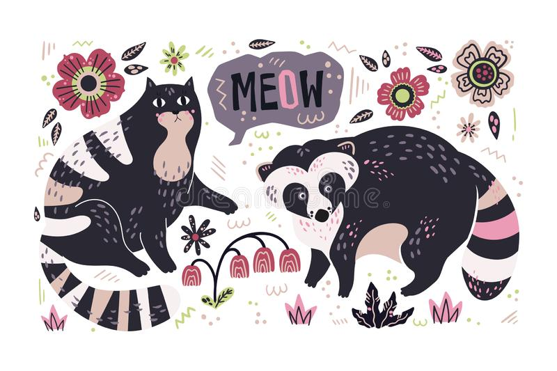 Vector flat hand drawn raccoon and cat surrounded by plants and flowers. stock illustration