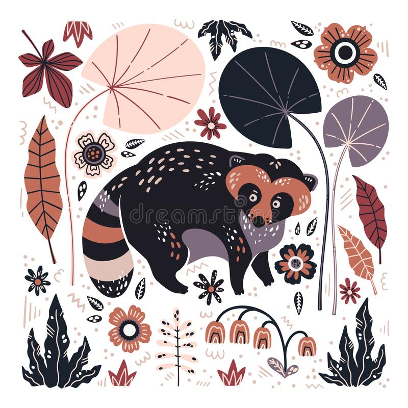 Vector flat hand drawn raccoon surrounded by plants and flowers. stock illustration