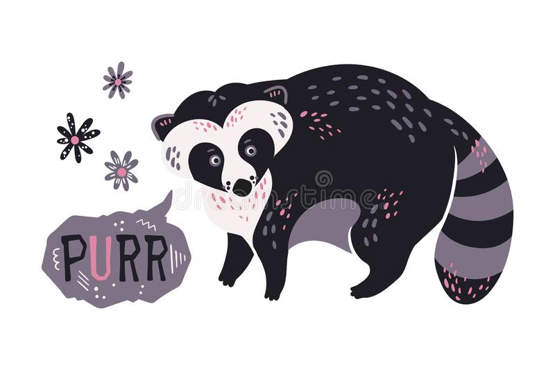 Vector flat hand drawn raccoon surrounded by plants and flowers. Lettering: Purr. stock illustration