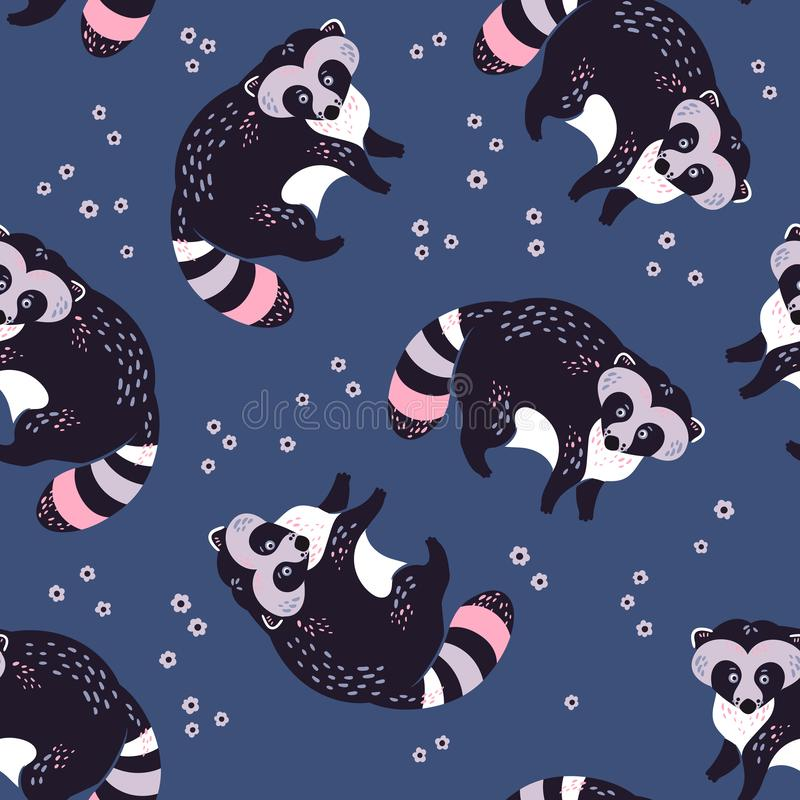 Vector flat hand drawn raccoons with plants flowers. Seamless pattern royalty free illustration